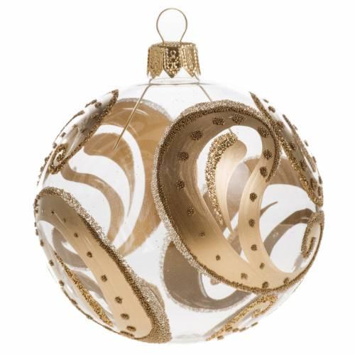 Pallina albero Natale trasparente oro gocce 8cm s1