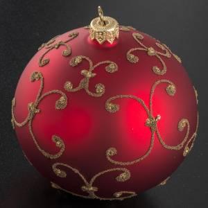 Pallina albero Natale vetro rossa decori oro 10cm s2