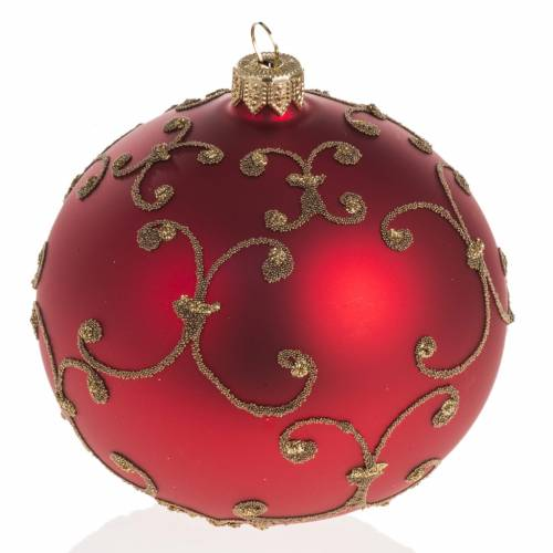 Pallina albero Natale vetro rossa decori oro 10cm s1