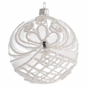 Palline di Natale: Pallina Natale vetro soffiato trasparente e bianco 100mm