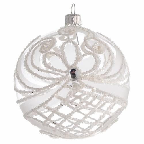 Pallina Natale vetro soffiato trasparente e bianco 100mm s1