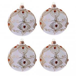 Palline di Natale: Palline vetro color champagne e pietre 100 mm 4 pezzi