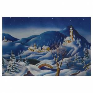 Fonds pour crèche Noel: Papier décor crèche paysage enneigé 70x100