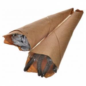 Papiers anguilles et anchois en miniature crèche Napolitaine h s1