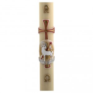 Candles, large candles: Paschal Candle, beeswax with lamb, red and gold 8x120cm