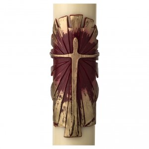 Candles, large candles: Paschal Candle, Risen Jesus with gold and red backgound