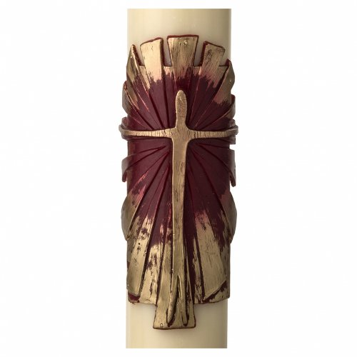 Paschal Candle, Risen Jesus with gold and red backgound s2