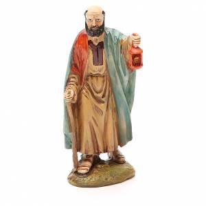 Pastor con farol resina pintada 12 cm Linea barata Landi s1