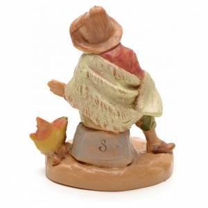Statue per presepi: Pastore con fuoco tipo legno 6,5 cm Fontanini