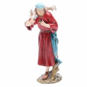 Statue per presepi: Pastore con pecora in testa cm 12 Linea Martino Landi