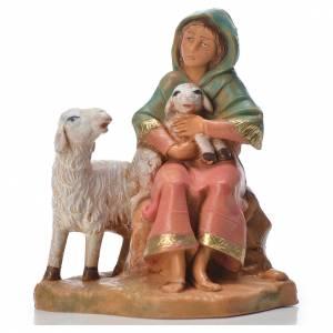 Statue per presepi: Pastorella con 2 pecore 9,5 cm Fontanini