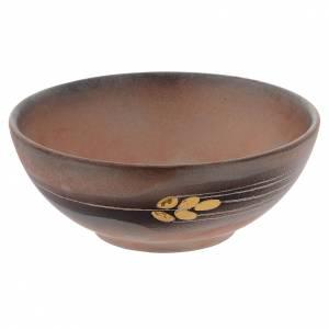 Calici Pissidi Patene ceramica: Patena ceramica diam 14 cm cotto antico e oro