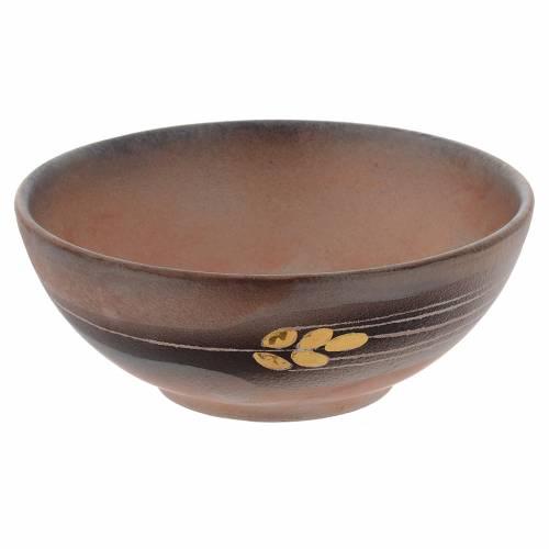 Patena de cerámica , 14cm Terracota y dorado s1