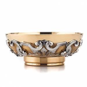 Calici Pissidi Patene metallo: Patena in ottone dorato decori argentati