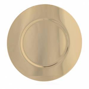 Calici Pissidi Patene metallo: Patena ottone dorato sagomata diam 15,5 cm