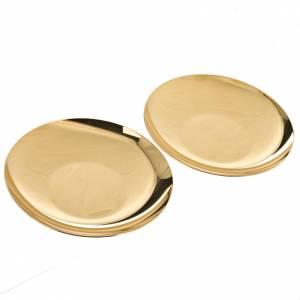 Metall Kelchen, Patenen, Ziborium: Patene aus vergoldetem Messing tiefe Form