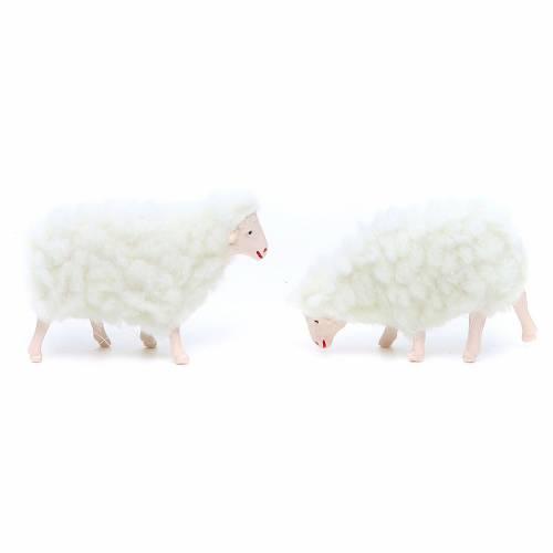 Pecora in pvc e lana bianca 4 pezzi 10 cm s2