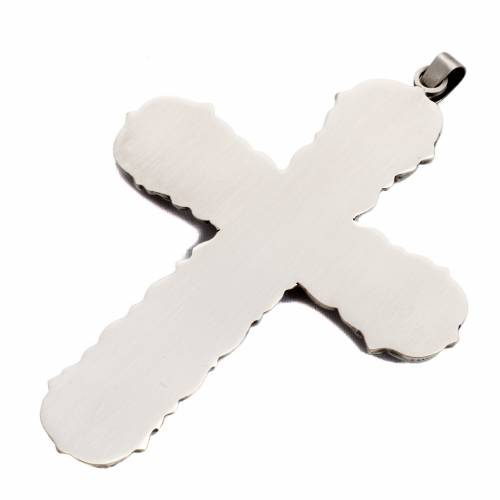 Pectoral cross, baroque style in chiselled silver copper, stones s5