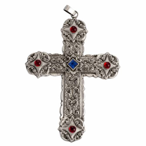 Pectoral cross, baroque style in chiselled silver copper, stones s1
