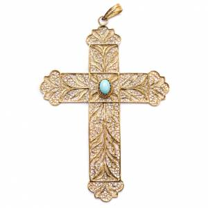 Pectoral Cross, golden silver 800 filigree with Turchese s1