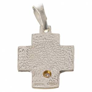Pendant cross in silver, Alpha Omega with zircon s2