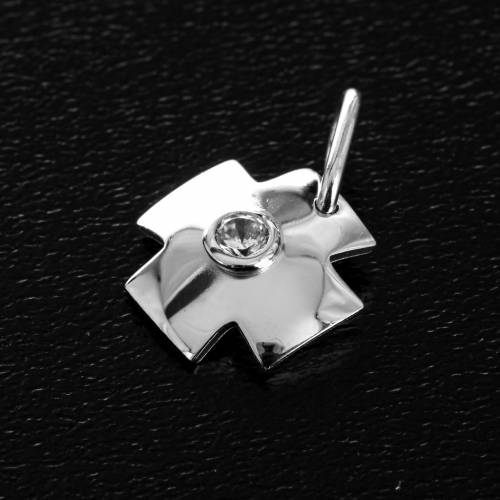 Pendant cross with zircon in sterling silver 1,5cm s2