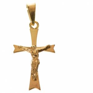 Pendant crucifix in gold-plated silver, pointed s1