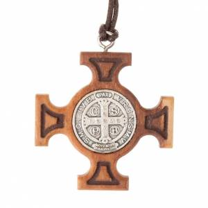 Wooden cross pendants: Pendant greek cross St Benedict