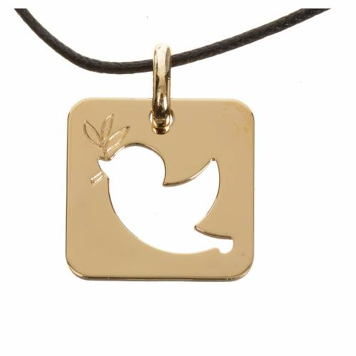 Pendant with peace dove in perforated 750 yellow gold 2.27gr s1