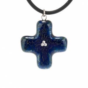 Croce blu con 3 Swarovski s1