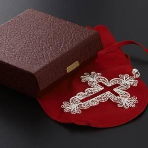 Pendente croce filigrana arg. 800 decori fiori - gr. 15,2 s7