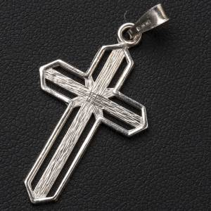 Pendentif croix argent 800 rayée s2