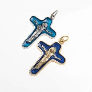 Pendentif croix métal 34 mm émail bleu Marie et Christ s1