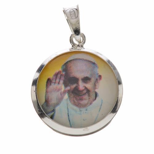 Pendentif médaille image Pape François argent 800 s1