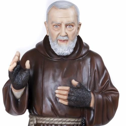 Père Pio marbre reconstitué 110cm peint s5