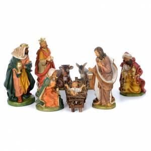 Belén resina y tela: Pesebre 8 figuras goma 40 cm
