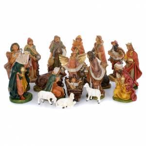 Belén resina y tela: Pesebre completo 18 figuras goma 40 cm