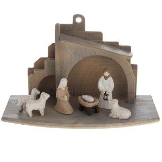 Presepe stilizzato in legno 10.5 cm