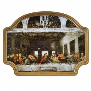 Paintings, printings, illuminated manuscripts: Picture, Last Supper with golden frame 27x20cm