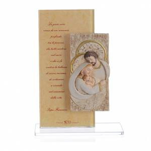 Bonbonnière: Picture with Holy Family and Pope Francis prayer in silk paper 15.5cm