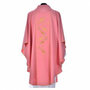 Pink chasuble in 100% polyester, cross, ears of wheat s2