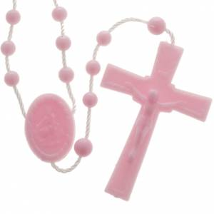 Economical rosaries: Pink nylon rosary
