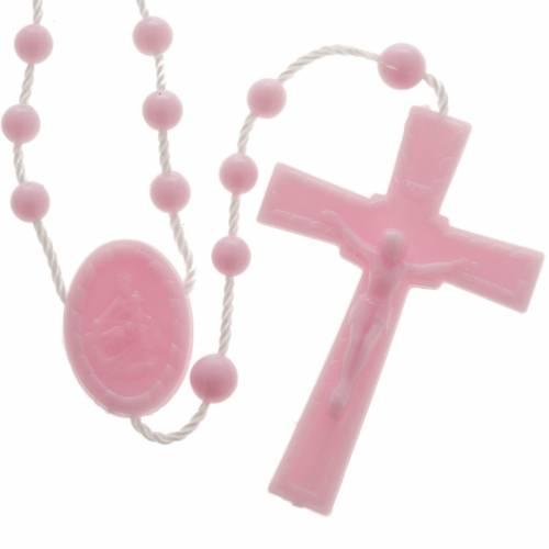 Pink nylon rosary s1