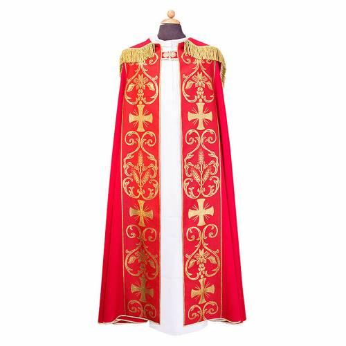 Piviale con stolone applicato tessuto Vatican poliestere s1