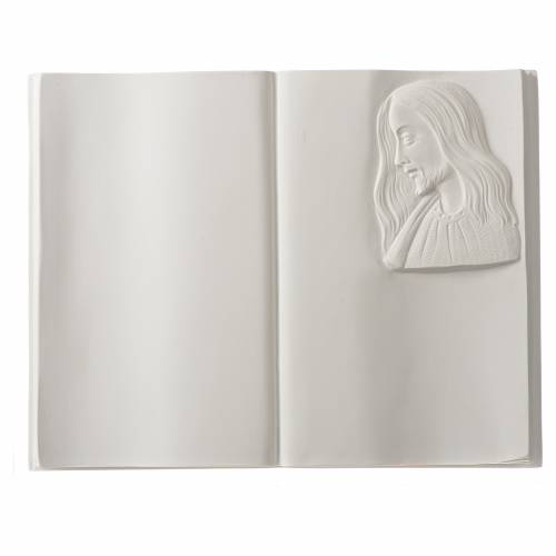 Plaque book for cemetery in reconstituted marble, Christ s1