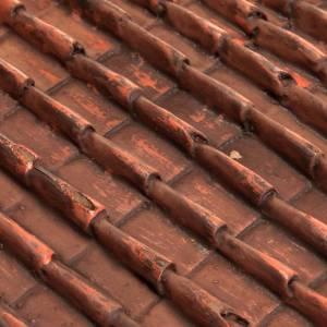 Plaque toit en tuiles rouges crèche noël s2