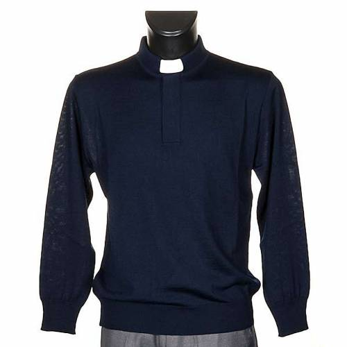 Polo clergy manches longues, bleu s1