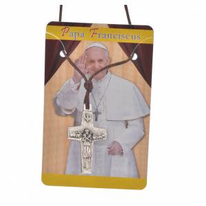 Pope Francis cross necklace metal 2.8x1.8cm with twine s3
