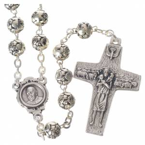 Metal rosaries: Pope Francis rosary beads with roses in silver medal