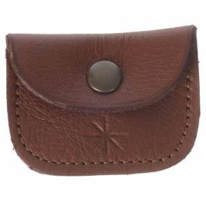 Portarosarios: Porta medalla de piel marrón Monjes de Bethlèem